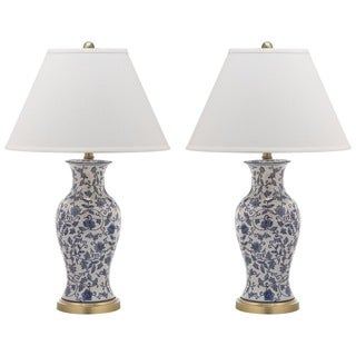 Safavieh Lighting 29-inch Beijing Blue/ White Floral Urn Lamp (Set of 2)