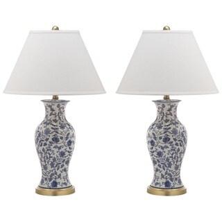 Safavieh Lighting 29-inch Beijing Blue/ White Floral Urn Lamp (Set of 2)