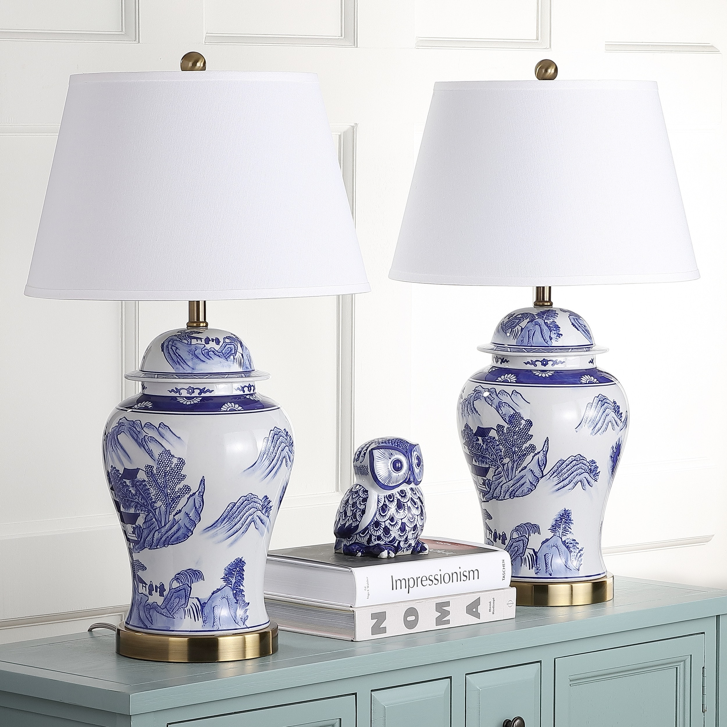 Safavieh Lighting 29-inches Shanghai Blue/ White Ginger J...