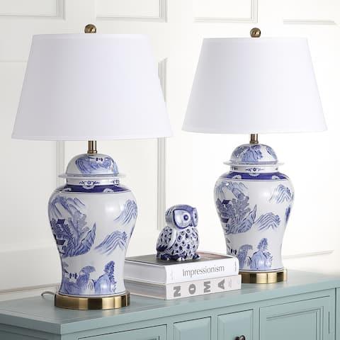 Safavieh Lighting 29-inches Shanghai Blue/ White Ginger Jar (Set of 2)