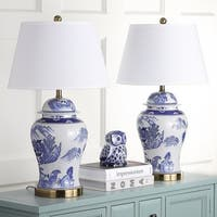 Safavieh Lighting Shanghai 29-inch Blue/ White Ginger Jar Table Lamp (Set of 2)