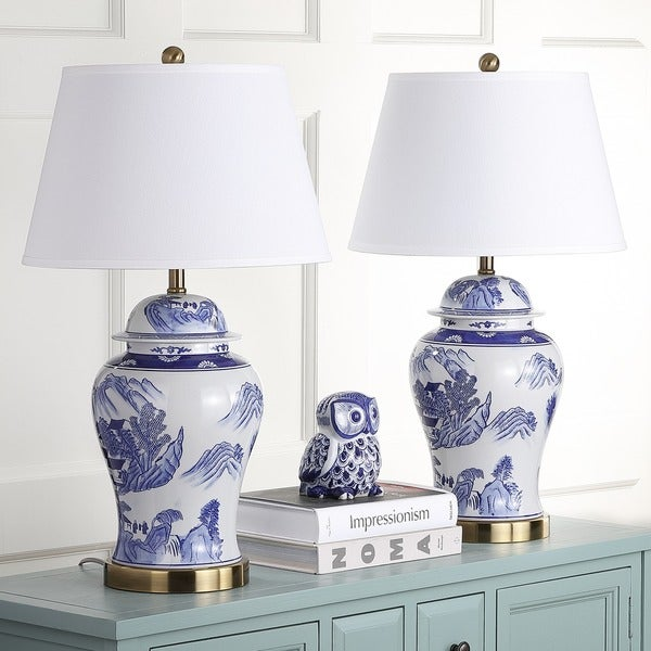 Safavieh Lighting Shanghai 29inch Blue White Ginger Jar Table Lamp