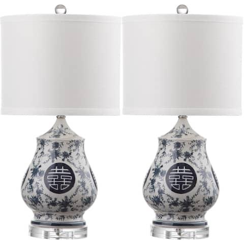 Safavieh Lighting 21-inch Abbie White/ Blue Table Lamp (Set of 2)