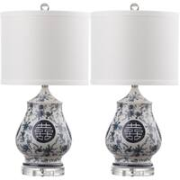 Safavieh Lighting 21-inch Abbie White/ Blue Table Lamp (Set of 2)