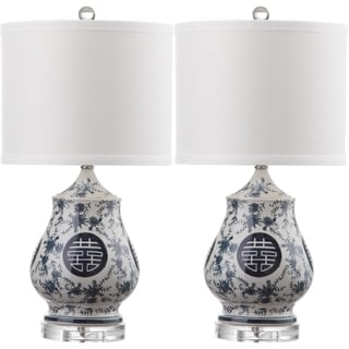 Safavieh Lighting 21-inch Abbie White/ Blue Table L& (Set of 2)  sc 1 st  Overstock.com & Table Lamp Lamp Sets - Clearance \u0026 Liquidation For Less | Overstock.com