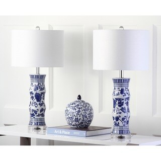"Safavieh Lighting 29-inch Sandy White/ Blue Table Lamp (Set of 2) - 14""x14""x27.5"""