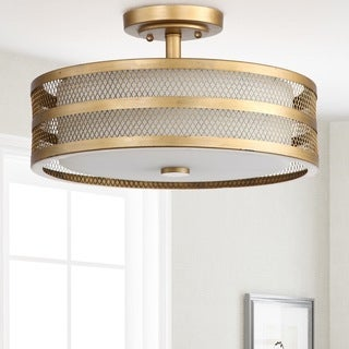 Safavieh Lighting 9.6-inches 3-light Greta Veil Gold Ceiling Light