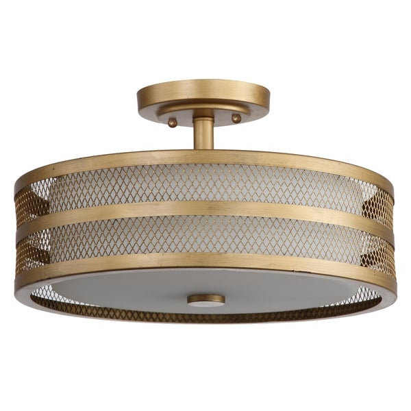 Safavieh Lighting 9.6-inches 3-light Greta Veil Gold Ceiling Light