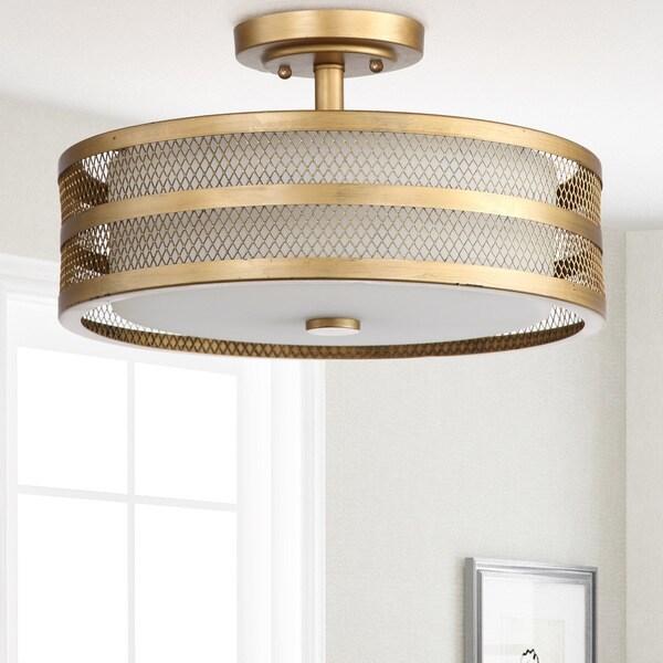 Safavieh Lighting 9.6-inch 3-light Greta Veil Gold Ceiling Light