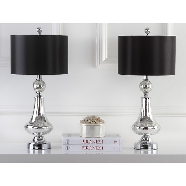 Safavieh Lighting Mercury Crackle Glass And Silver Chrome 25.5 Inch Table  Lamps With Black Satin