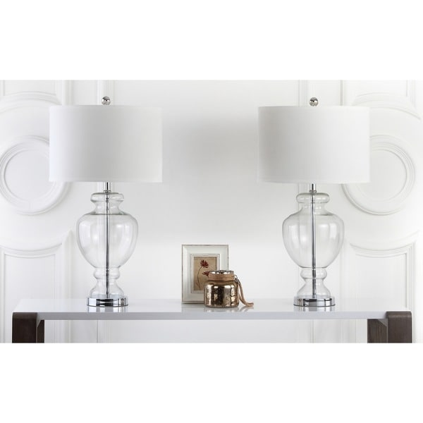 Safavieh lighting 28 inch clear glass table lamp set of 2