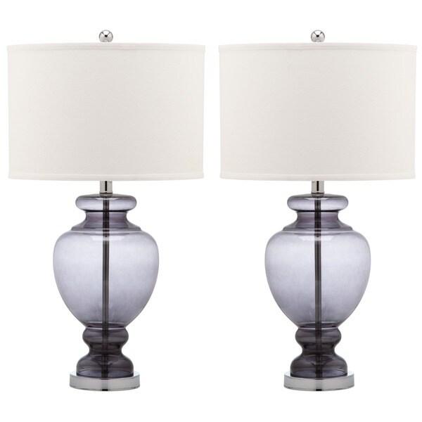 safavieh lighting 28 inch grey glass table lamp set of 2 free. Black Bedroom Furniture Sets. Home Design Ideas