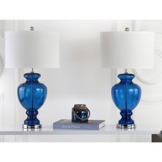 Safavieh Lighting 28-inch Navy Glass Table Lamp (Set of 2)