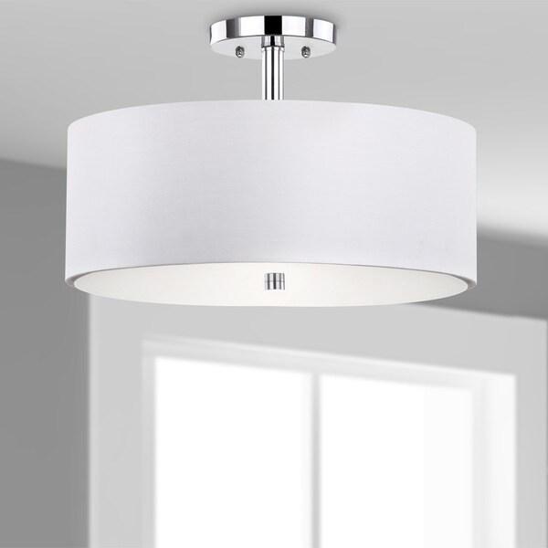 Safavieh Lighting 11.25-inches 3-light Clara Chrome Ceiling Drum Light