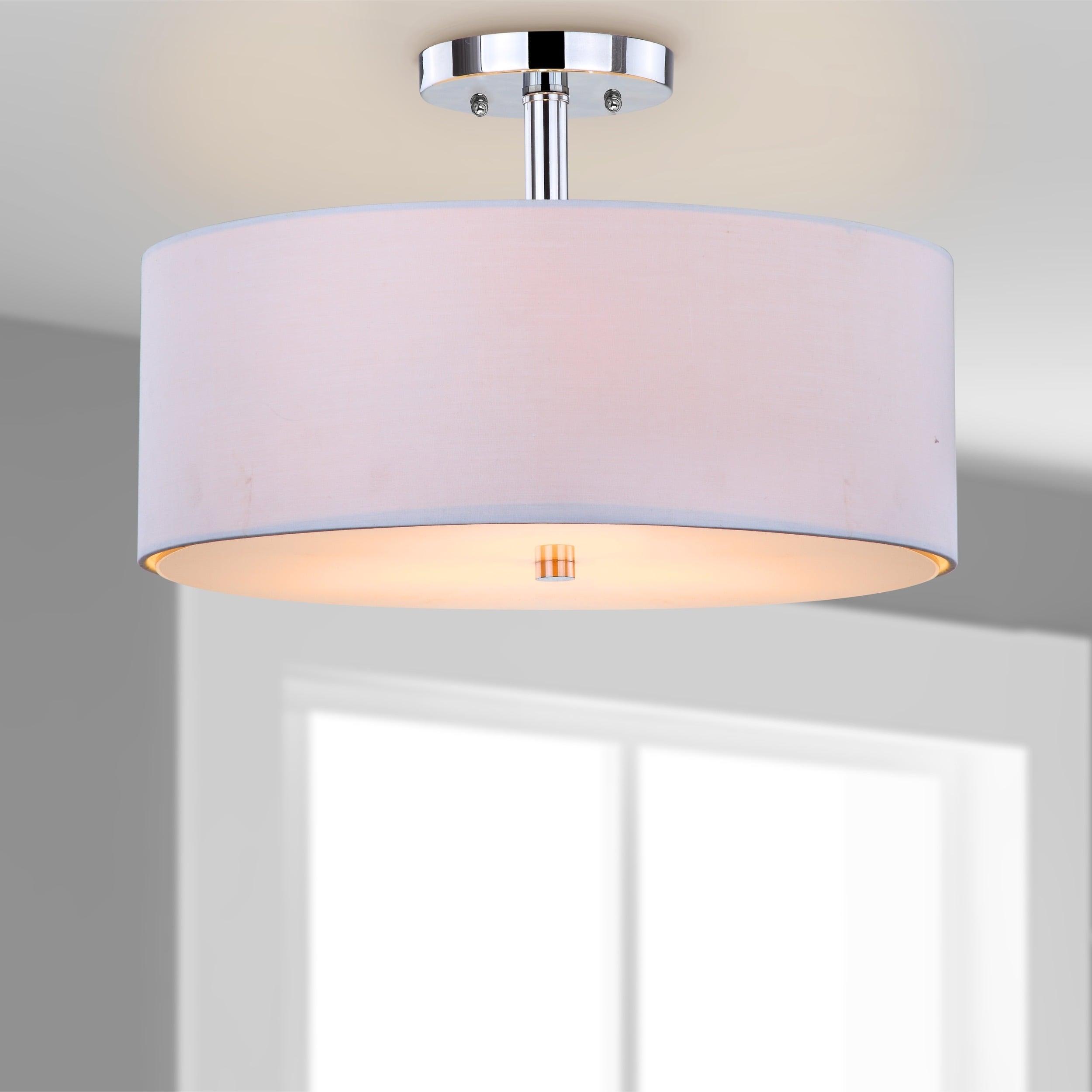 Safavieh Lighting Clara 3 Light Chrome Ceiling Drum