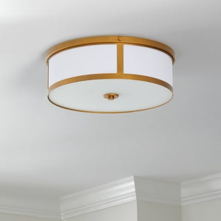 Safavieh Lighting 6-inches 2-light Avery Gold Ceiling Drum Light