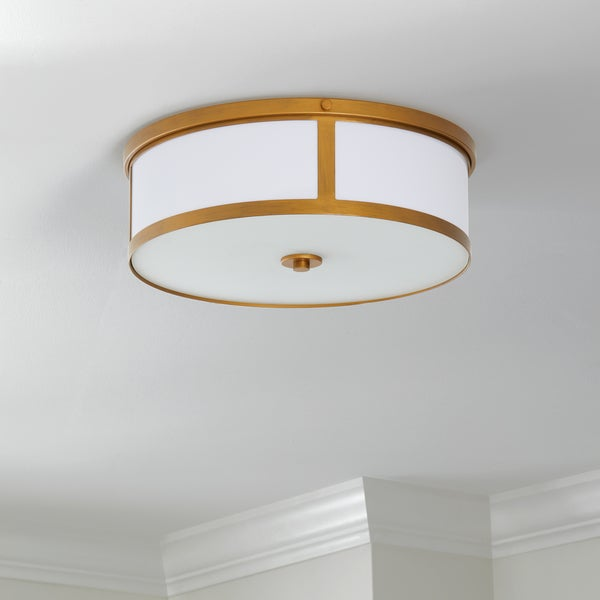 Safavieh Lighting 6-inch 2-light Avery Gold Ceiling Drum Light