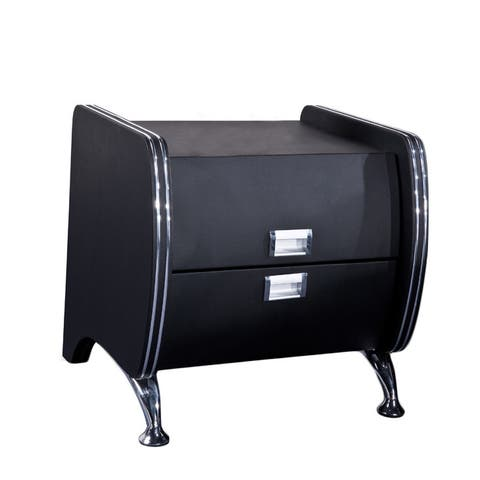 Dona Black Faux Leather Contemporary Nightstand