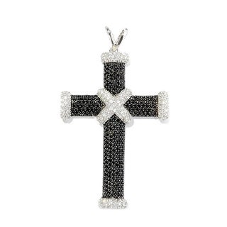 Sterling Silver Black Spinel White Zircon Cross Pendant