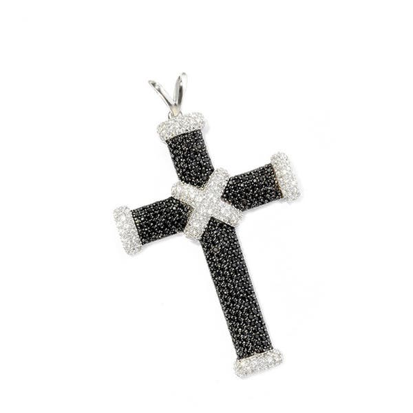 solid 14K gold cross necklace black spinel stone and white zircons