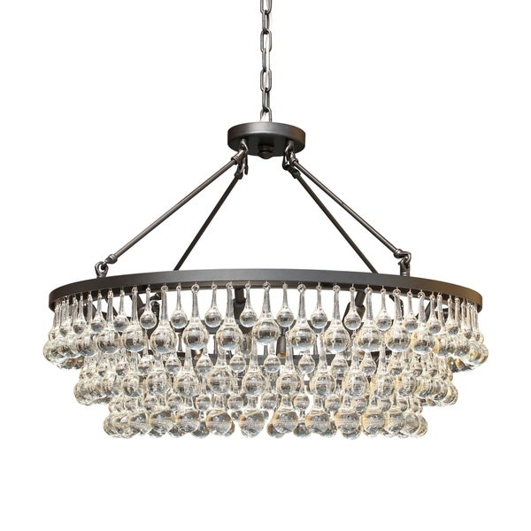 Celeste Glass Drop Crystal Chandelier Oil Rubbed Bronze Light Up