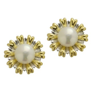 Pearls for You Two-tone Gold Over Silver White Freshwater Pearl Flower Earrings (7.5-8 mm)