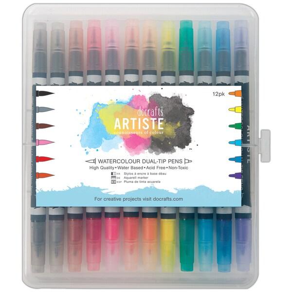 Artiste Watercolor Dual Tip Pens 12/Pkg-Brush & Marker