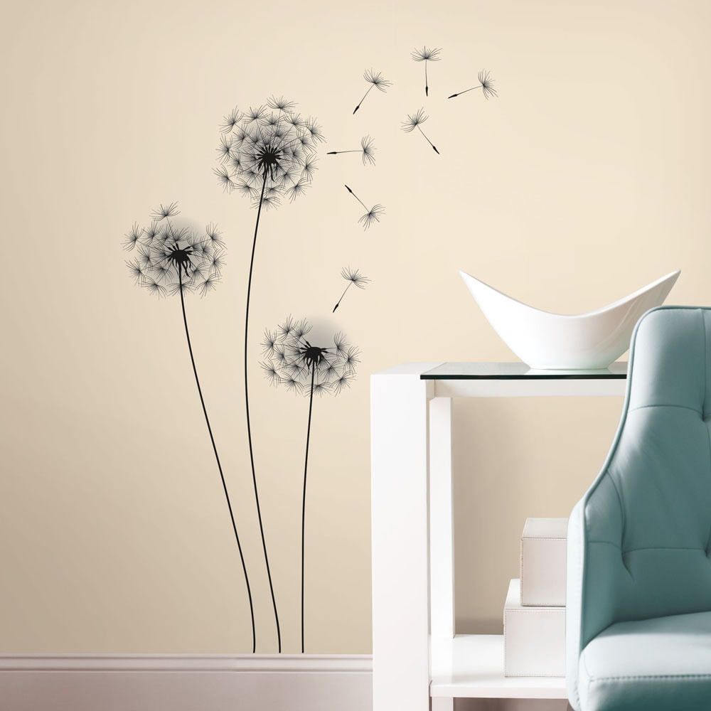 Butterfly Floating Dandelion Wall Art Decal Black and White Room Decor