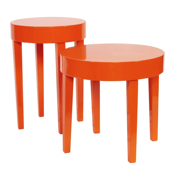Orange nesting table set free shipping today overstock for Orange outdoor side table