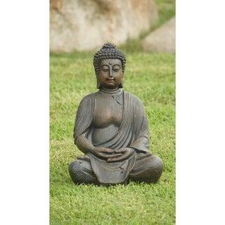Alpine Corporation Meditating Buddha Outdoor Statue, 15-inches