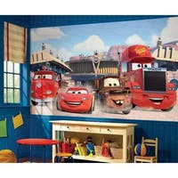 Disney Cars Friends to the Finish XL Chair Rail Prepasted Mural 6' x 10.5' - Ultra-strippable