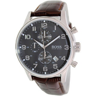 Hugo Boss Men's 1512570 Brown Leather Analog Quartz Watch with Grey Dial