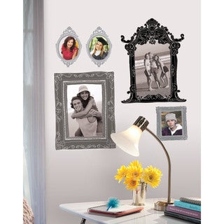 Metallic Black & Silver Frames Peel & Stick Giant Wall Decals