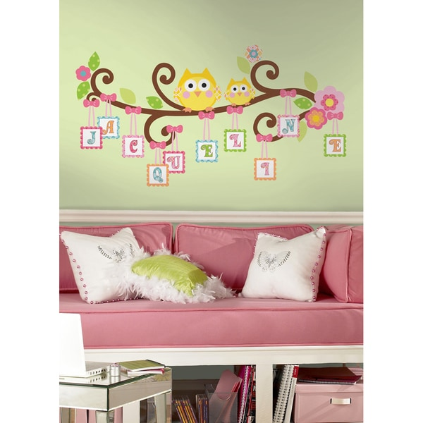 shop happi scroll tree letter branch peel & stick giant wall decal