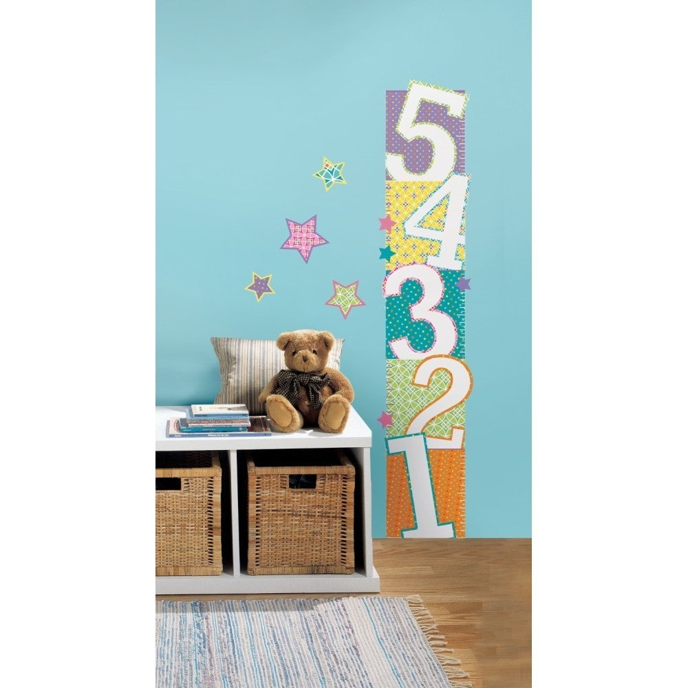 RoomMates Patterned Numbers Peel and Stick Growth Chart W...