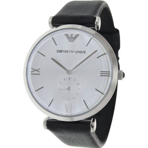 Emporio Armani Men's Retro AR1674 Black Leather Analog Quartz Watch with Silver Dial