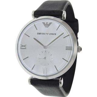 Emporio Armani Men's Retro AR1674 Black Leather Analog Quartz Watch with Silver Dial