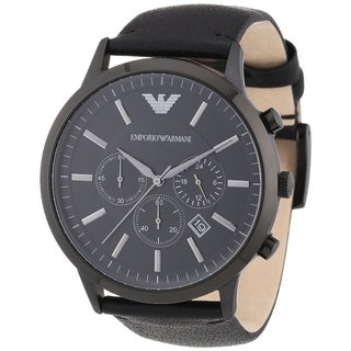 Emporio Armani Men's Sportivo AR2461 Black Leather Analog Quartz Watch with Black Dial