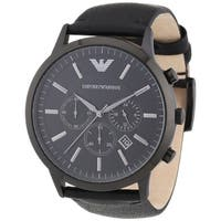 Emporio Armani Men's Sportivo  Black Leather Analog Quartz Watch with Black Dial
