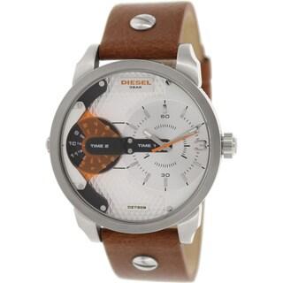 Diesel Men's Mini Daddy DZ7309 Brown Leather Analog Quartz Watch with Silver Dial