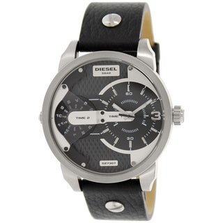 Diesel Men's Mini Daddy DZ7307 Black Leather Analog Quartz Watch with Black Dial