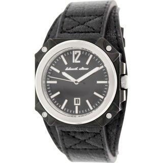 Black Dice Men's Graduate BD-070-01 Black Leather Analog Quartz Watch with Black Dial