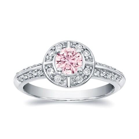 Auriya 14k White Gold 3/4ct TDW Natural Fancy Pink Diamond Halo Engagement Ring