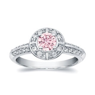 Auriya 14k White Gold 3/4ct TDW Natural Fancy Pink Diamond Halo Engagement Ring