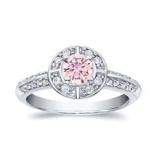 Auriya 3/4ctw Natural Fancy Pink Diamond Halo Engagement Ring 14k White Gold