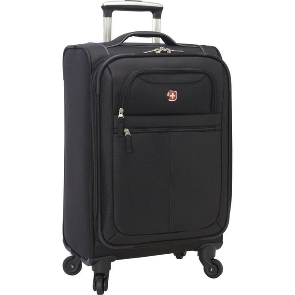 SwissGear 20-inch Spinner Black Lightweight Exandable Carry-on ...