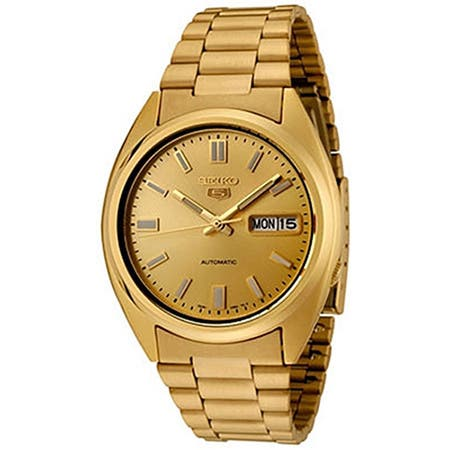 Seiko Men's 5 Automatic Goldtone Stainless SteelAutomatic Watch with Gold Dial