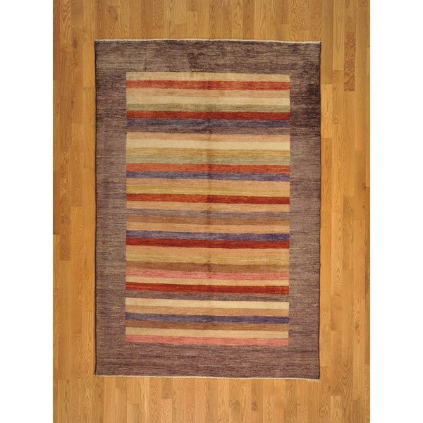 Hand-knotted Multicolored Modern Striped Gabbeh Wool Rug - 5' x 8'