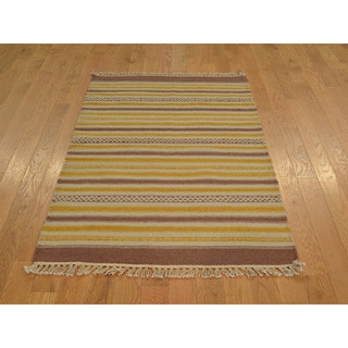 Hand-woven Striped Durie Kilim Wool Flat Weave Rug (3' x 5')
