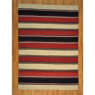 Hand-woven Wool Flat Weave Striped Qashqai Kilim Rug (6' x 9')